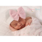 Elegant Pink Striped Bow on White Beenie