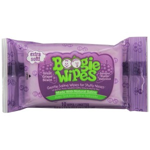 Boogie Wipes Natural Saline Kids and Baby Nose Wipes for Cold and Flu, Grape Scent, 10 Count