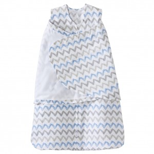 HALO SleepSack Swaddle Cotton Muslin Blue Chevron (Size: 0-3m, 3-6 m)