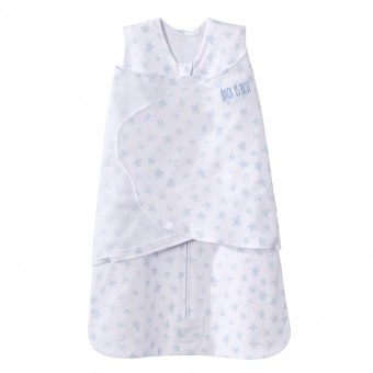 HALO SleepSack Swaddle Cotton, Twinkle Pale Blue Platinum Series (Size: 0-3m, 3-6 m)