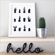 Hello Black Acrylic Sign