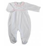 Smocked and Embroidered White Pima Cotton Girl's Footie