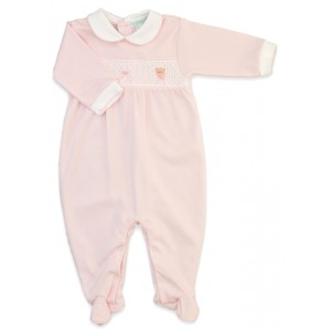 Pink Bear Smocked Footie