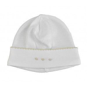 White Hat with Ecru Embroidery