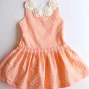 Peachy Ivory Lace & Pearl Studded Dress (4yrs, 5yrs)