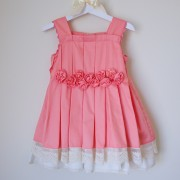 Peach Flower Embellished Dress with White Lace (3yrs, 5yrs)