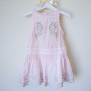 Pink Chiffon Dress with Silver Embroidery (12,18m)