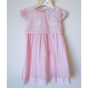 Adorable Pink Chiffon Embroidered Dress (3m, 6m,12m, 18m, 24m)