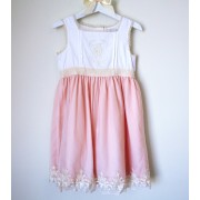 White & Pink Tulle Classy Embroidered Dress (2,3,4,5 yrs)