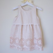 Linen Dress with Embroidery & Punched Details (18m, 24m, 4yrs, 6yrs)