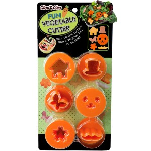 CuteZCute Fun Vegetable Cutter, Flower Butterfly House Face Mustache and Hat, Orange, Set of 6