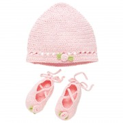 Pink Crocheted Ballerina Hat & Bootie Set