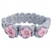 Grey Crochet Headband with Pink Flowers