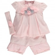 Emile et Rose Jersey Top with Tulle Rosettes, Shorts & Hairband