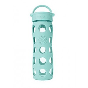 Lifefactory BPA-Free Glass Water Bottle with Leakproof Cap & Silicone Sleeve, Turquoise (650 ml)