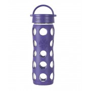 Lifefactory BPA-Free Glass Water Bottle with Leakproof Cap & Silicone Sleeve, Royal Purple (650 ml)