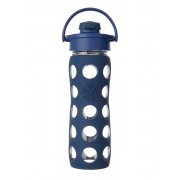 Lifefactory BPA-Free Glass Water Bottle with Flip Cap & Silicone Sleeve, Midnight Blue (470 ml)