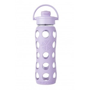 Lifefactory BPA-Free Glass Water Bottle with Flip Cap & Silicone Sleeve, Lilac (650 ml)