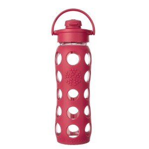 Lifefactory BPA-Free Glass Water Bottle with Flip Cap & Silicone Sleeve, Raspberry (650 ml)