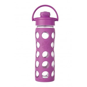 Lifefactory BPA-Free Glass Water Bottle with Flip Cap & Silicone Sleeve, Huckleberry (470 ml)