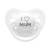 "Littlemico ""I LOVE MUM"" White Pacifier"