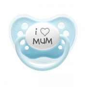 "Littlemico ""I LOVE MUM"" Blue Pacifier"