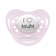"Littlemico ""I LOVE MUM"" Pink Pacifier"