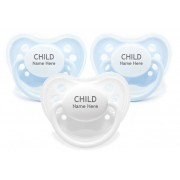 Littlemico Personalised Pacifiers Blue & White (3 Pack)