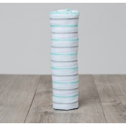 Aqua Messy Stripe Cotton Muslin Swaddle
