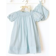 Petit Ami Mint Rose Hand Embroidered Dress with Cap
