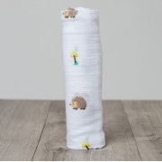 Happy Hedgehog Cotton Muslin Swaddle