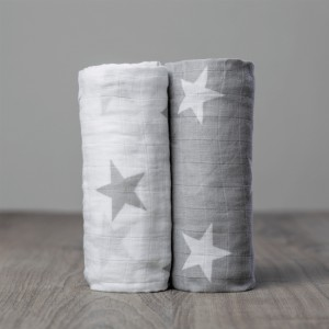 Grey Stars Muslin Swaddle - 2 PACK