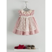 Nanos Red Striped Cotton Baby Dress with Bloomers (18 mths, 24 mths)