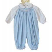 Petit Ami Blue Rose Hand Embroidered Overall