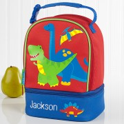 Red Dino Embroidered Lunch Bag