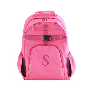 Solid Pink Embroidered Backpack