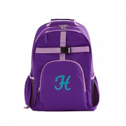 Solid Purple Embroidered Backpack