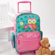 Owl Embroidered Rolling Luggage