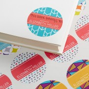 Geometric Personalized Book Stickers (72 stickers)