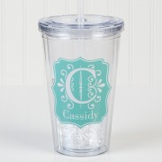 Blooming Monogram Personalized Acrylic Insulated Tumbler