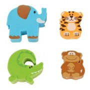 4 Piece Eraser Set (Zoo)