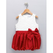 Red & Ivory Bow Bubble Dress (2T)