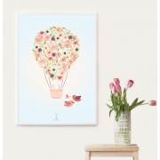 Floral Air Balloon Print (Frame Included)
