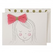Girl with Bow Birthday Greeting Card