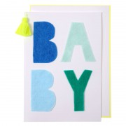 Blue Felt New Baby Card