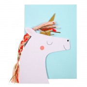 Unicorn with Colored Braid Birthday Card