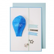 Hello Blue Balloon New Baby Card