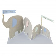 Concertina Elephants New Baby Card