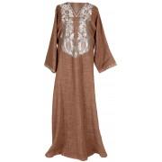 Brown Zari Embroidered Kaftan