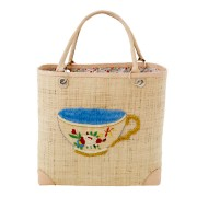 Luxury Natural Raffia Bag with Tea Cup Embroidery and Fabric Lining